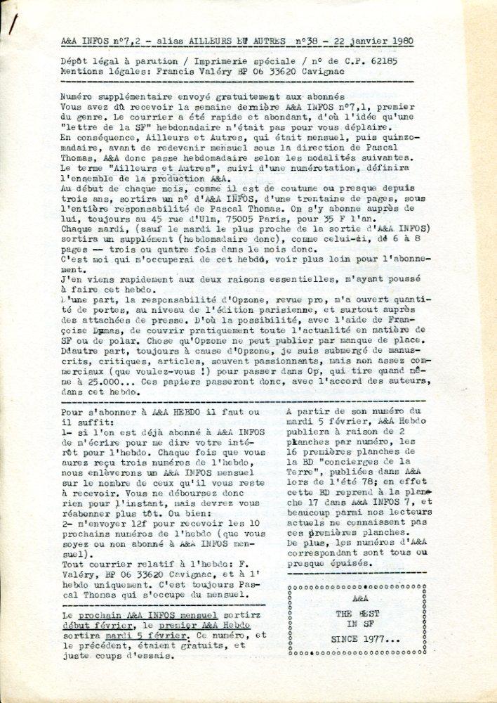 A & A Infos n° 7.2 / Ailleurs et Autres n° 38