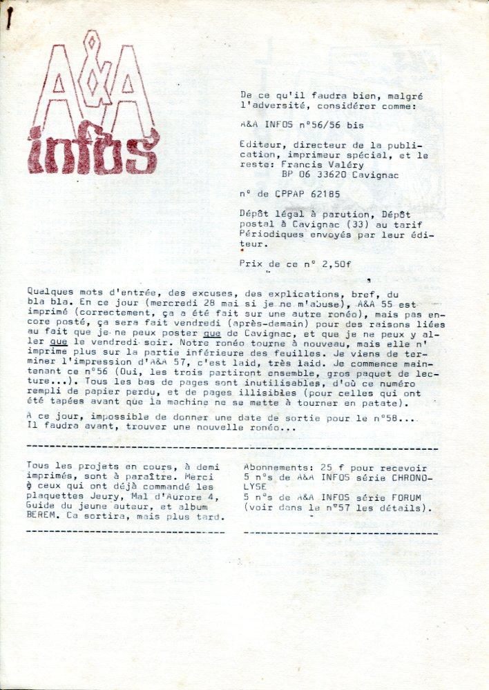 A & A Infos n° 56/56 bis