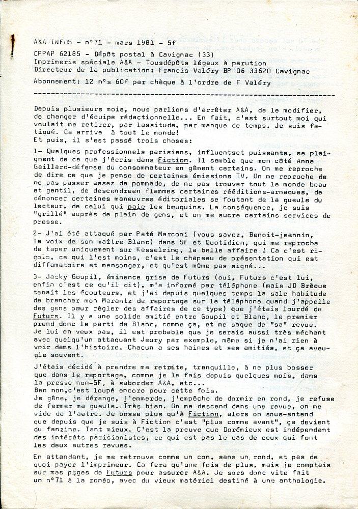 A & A Infos n° 71