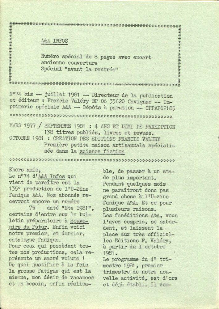 A & A Infos n° 74 bis