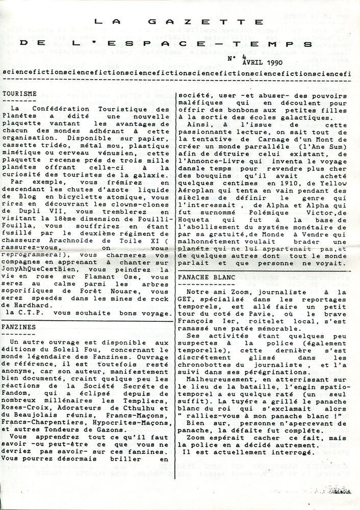La Gazette de l'Espace-Temps n° 4