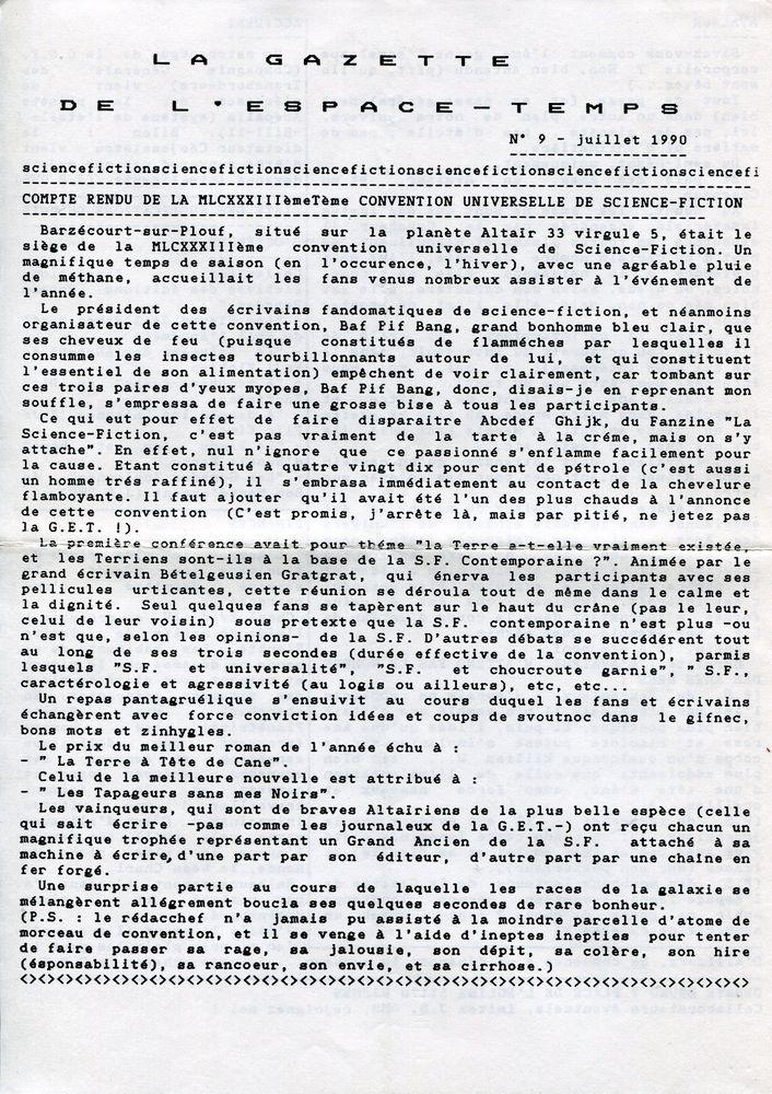 La Gazette de l'Espace-Temps n° 9