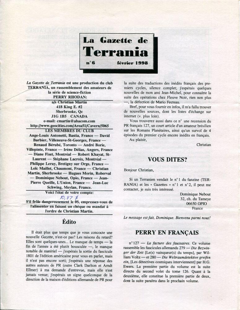 La Gazette de Terrania n° 6