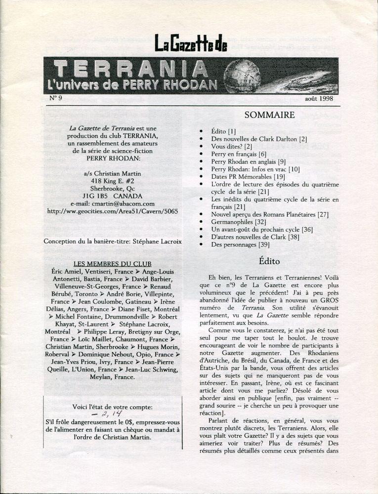 La Gazette de Terrania n° 9