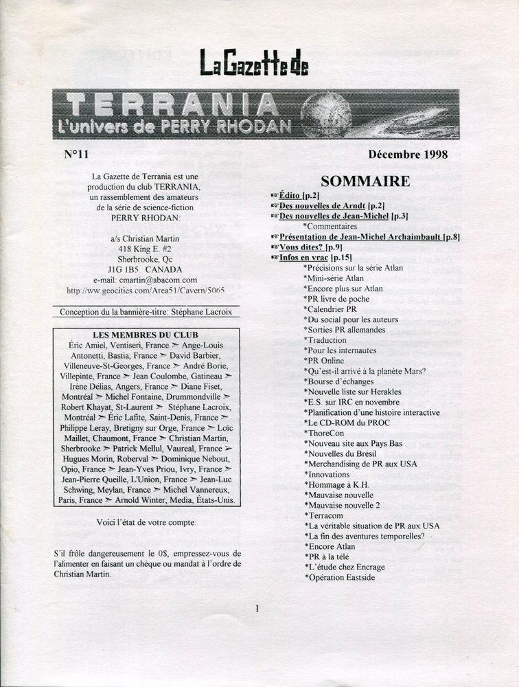 La Gazette de Terrania n° 11