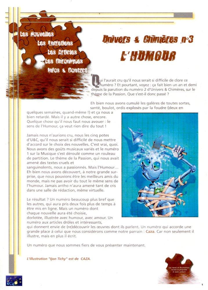 Univers & Chimères n° 3 : l'Humour