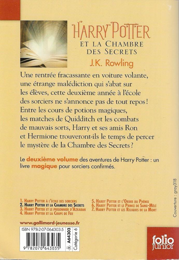 Harry Potter Et La Chambre Des Secrets J K Rowling
