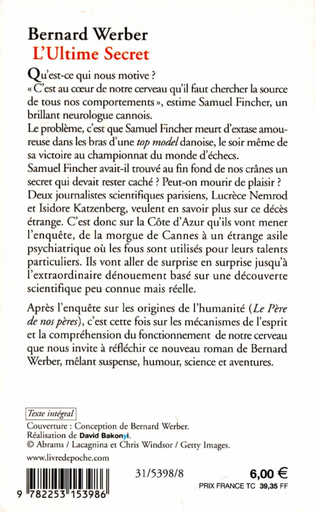 L Ultime Secret Bernard Werber Fiche Livre Critiques Adaptations Noosfere